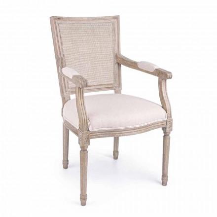 Klasická židle s područkami z jasanového dřeva a látky Homemotion - pusinka