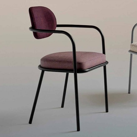 Vintage designová židle s područkami z oceli a barevné látky - Ula