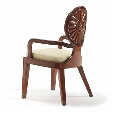 Židle s polstrovanými opěrkami na hladké dřevo Nicole, luxusní designový