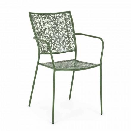 Zahradní židle s područkami stohovatelná zdobená ocel - střevíček