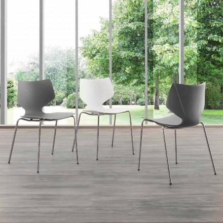 Moderní designová chromovaná židle s podstavcem Messina