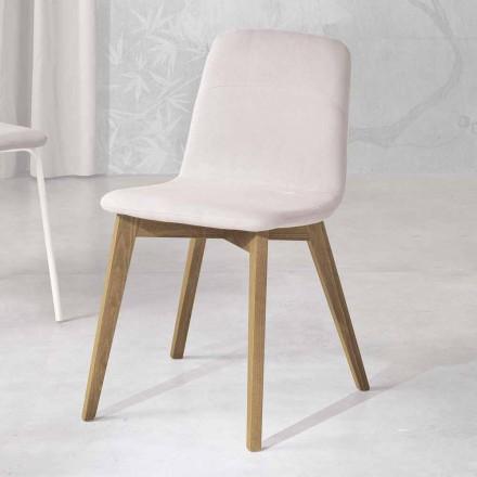 Designová židle ze dřeva a tkaniny pro kuchyně vyrobené v Itálii, Egizia