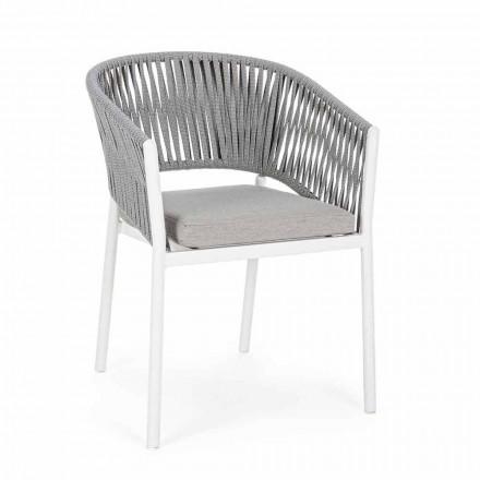 Venkovní židle s područkami v bílé a šedé hliníkové homemotion - Rubio