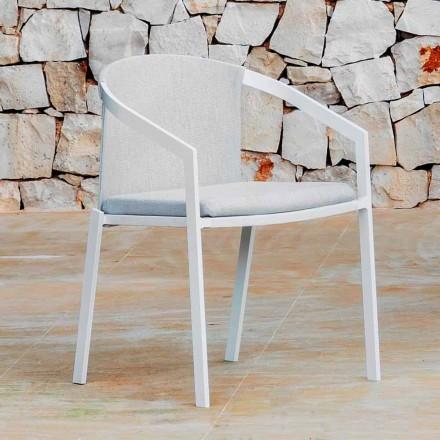 Hliníková venkovní židle s polštářem nebo bez polštáře, vysoce kvalitní, 4 ks - Filomena