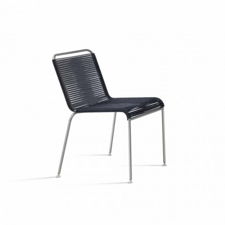 Venkovní designová židle z oceli a černého lana Vyrobeno v Itálii - Madagaskar1