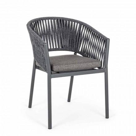 Stohovatelná venkovní židle s látkovým sedákem, Homemotion 4 kusy - Aleandro