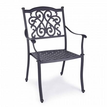 Stohovatelná venkovní židle z bílého nebo antracitového hliníku, 4 kusy - Óda