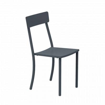 Stohovatelná venkovní židle z lakovaného kovu vyrobená v Itálii, 4 kusy - tyl