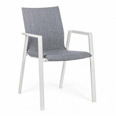 Stohovatelná venkovní židle z látky a hliníku, 4 kusy - Kyo
