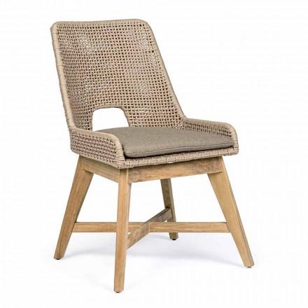 Venkovní židle v laně a látce s teakovou základnou, Homemotion 2 kusy - Lesya