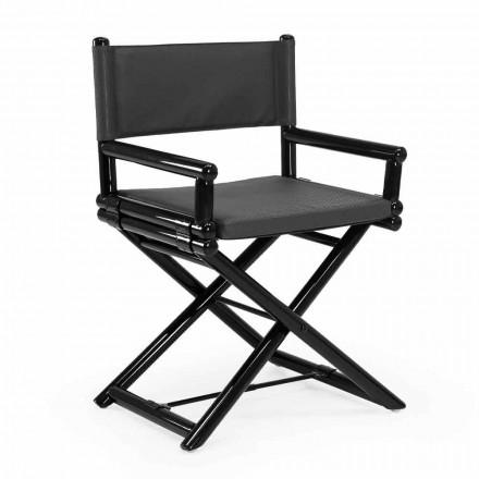 Venkovní židle z přírodního dřeva nebo černá a znovu uzavíratelná designová látka - Suzana