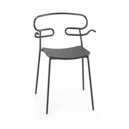 Venkovní židle z kovu a polyuretanu vyrobená v Itálii, 2 kusy - Trosa
