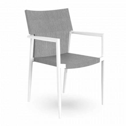 Zahradní židle s područkami stohovatelnými z hliníku a textilu - Adam Talenti
