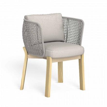 Zahradní židle s područkami v laně, látce a dřevě - Argo od Talenti