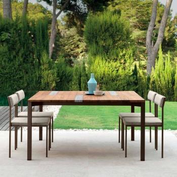Čalouněná zahradní židle Casilda Talenti s konstrukcí z nerezové oceli