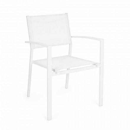 Stohovatelná zahradní židle v moderním designu z hliníku a textilu - Franz