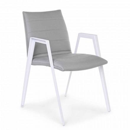 Moderní zahradní židle s područkami v bílé hliníkové Homemotion - Liliana