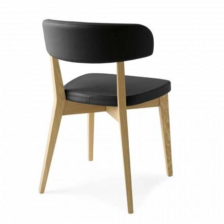 Židle v jídelně ze dřeva a tkaniny nebo umělé kůže Vyrobeno v Itálii - Siréna