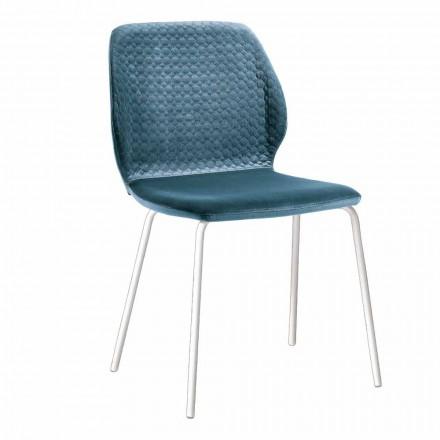 Elegantní židle do obývacího pokoje v moderním designu v barevném sametu 4 kusy - Scarat