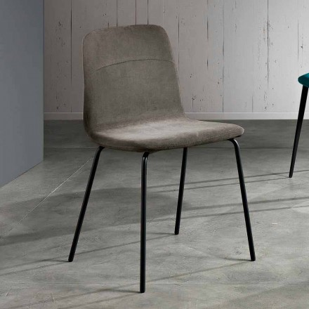 Židle z tkaniny a kovu pro obývací pokoj vyrobený v Itálii, Egizia
