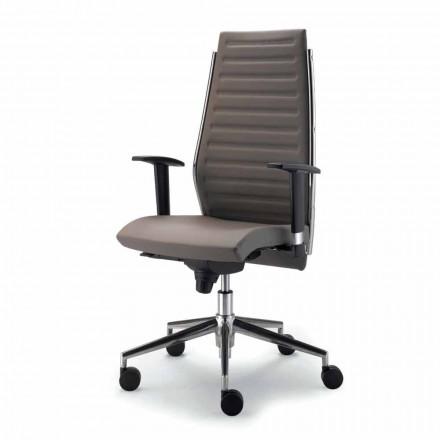 Kancelářská židle s shell v buku a pravá hovězí Ester