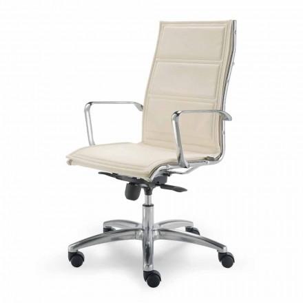 Kancelářská židle s monokokem z imitace kůže vyrobené v Itálii Agata