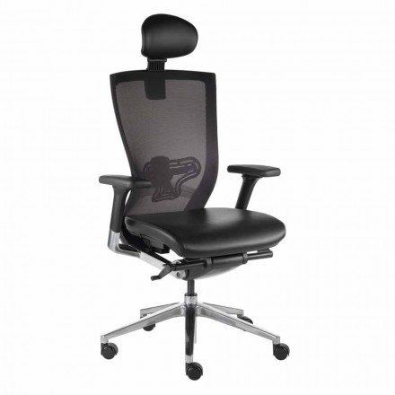 Ergonomická kancelářská židle s látkovými a umělohmotnými koženými koly - Takeshi