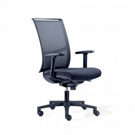 Semi-Directional Office Chair v Tecnorete a Black Fabric - Vespasiano