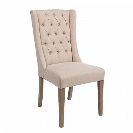 Klasická designová židle z látky a dubového dřeva 2 dílná Homemotion - Forla
