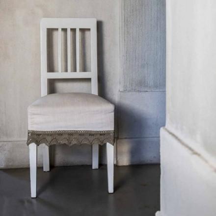 Designová kuchyňská židle v bílém lakovaném bukovém dřevě, Shirley 2 kusy