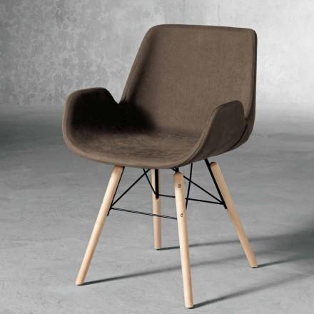 Designová židle z dřeva a tkaniny vyrobená v Itálii Ornica