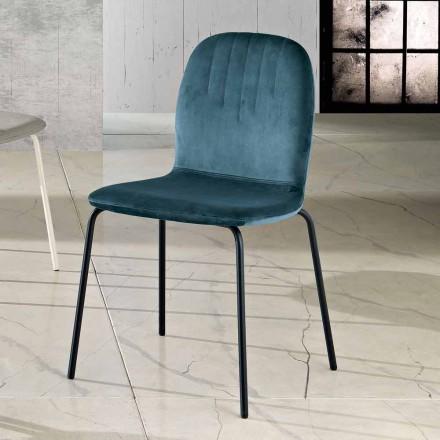 Designová židle v sametových a trubkových nohách vyrobených v Itálii, Carola