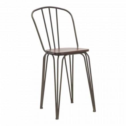 Moderní designová průmyslová židle ze železa a dřeva, 2 kusy - Erika