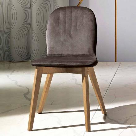 Moderní design židle v sametu a dřevo vyrobené v Itálii, Carola
