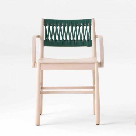 Luxusní židle s područkami z běleného buku a lana vyrobená v Itálii - Nora