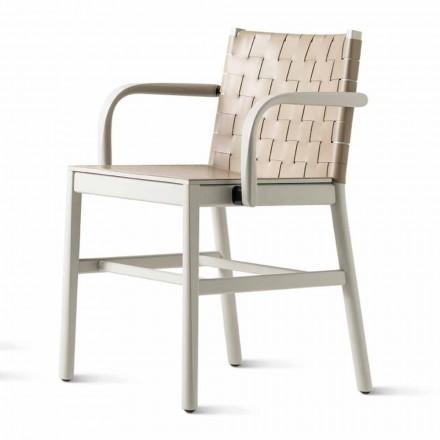 Luxusní židle z béžového lakovaného buku a pletené kůže vyrobená v Itálii - Nora