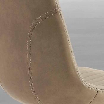 Čalouněná židle v ekologickém nubuku a kovu, moderní design, Taranto