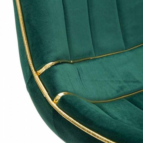 Polstrovaná židle pro design jídelny ve dřevě a tkanině, 2 kusy - Kolly