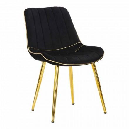 Čalouněná designová jídelní židle ze dřeva a textilu, 2 kusy - Kolly