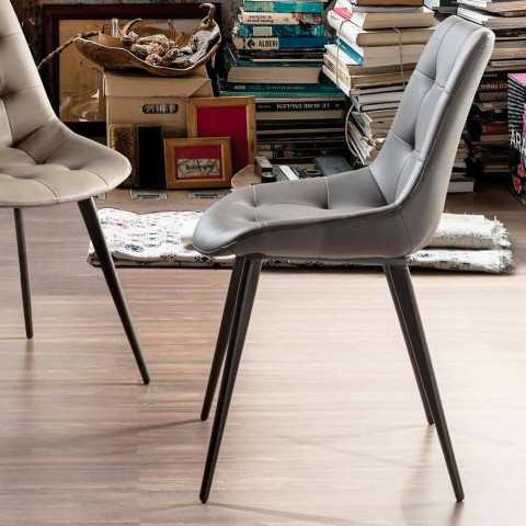 Čalouněná židle do jídelny z umělé kůže s černými nohami, 2 kusy - Edda