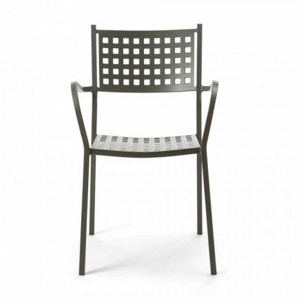 Stohovatelná venkovní židle z lakovaného kovu vyrobená v Itálii, 8 kusů - Lina