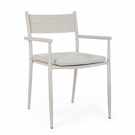 Stohovatelná venkovní židle z látky a hliníku, Homemotion, 4 kusy - Imani