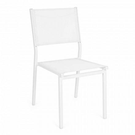 Stohovatelná zahradní židle z hliníku a textilu, moderní design - Franz