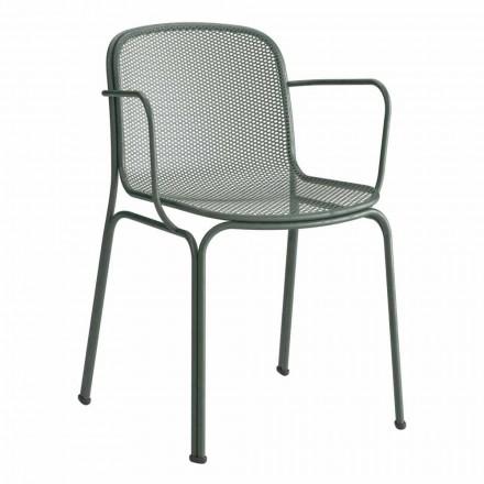 Stohovatelná venkovní kovová židle vyrobená v Itálii, 4 kusy - Verna