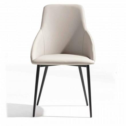 Židle z ekokože se zdobeným opěradlem a černou kovovou základnou, 2 kusy - Nima