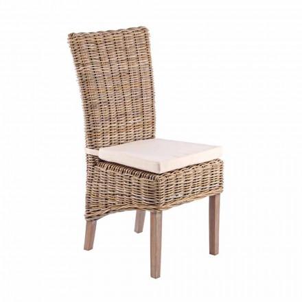 Zahradní dřevěná židle s designovým polštářem pro venkovní použití - Taffi