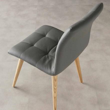 Židle Moderní Designová, čalounění z Ekokože a Dřevěné Nohy - Viola
