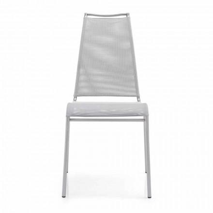 Židle s vysokým opěradlem v saténové oceli Vyrobeno v Itálii 2 kusy - Air High