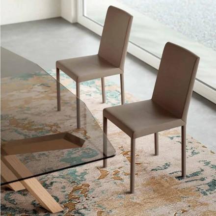 Designová židle z kůže vyrobená v Itálii, Soliera
