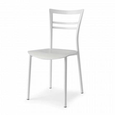 Živá designová židle z kovu a vícevrstvého dřeva vyrobená v Itálii 2 kusy - Go